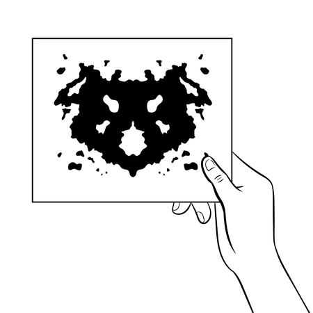 Rorschach test coloring book vector illustration. Illustration