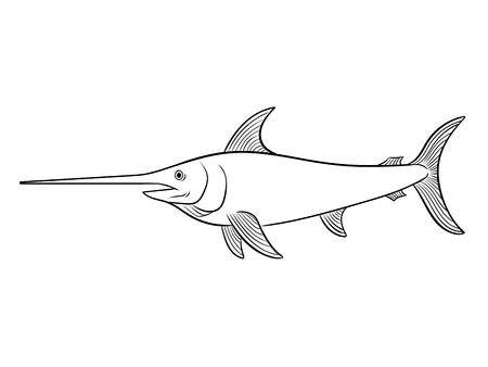 Swordfish coloring book vector illustration.
