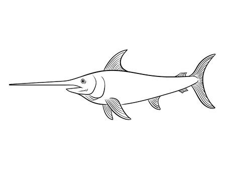 Zwaardvis kleurboek vectorillustratie.