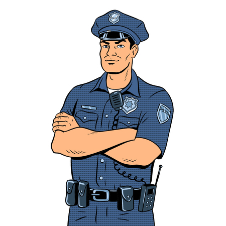 Policeman pop art retro vector illustration. Isolated image on white background. Comic book style imitation. Ilustração