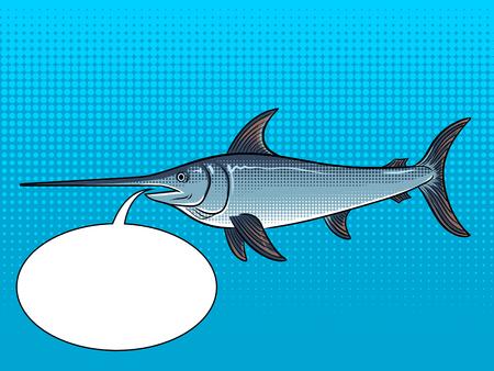 Swordfish animal pop art retro vector illustration. Color background. Text bubble. Comic book style imitation.