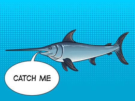 Ilustração retro do vetor do pop art animal do espadarte. Cor de fundo. Bolha de texto. Imitação de estilo de quadrinhos. Foto de archivo - 93269011
