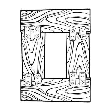 ●木製0番彫刻ベクトルイラスト。フォントアート。スクラッチボードスタイルの模倣。手描きのイメージ。