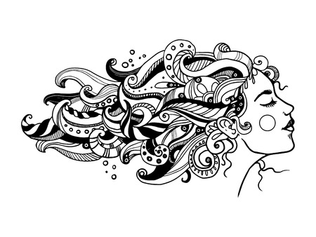 Girl with abstract hair coloring vector illustration. Isolated image on white background. Comic book style imitation.