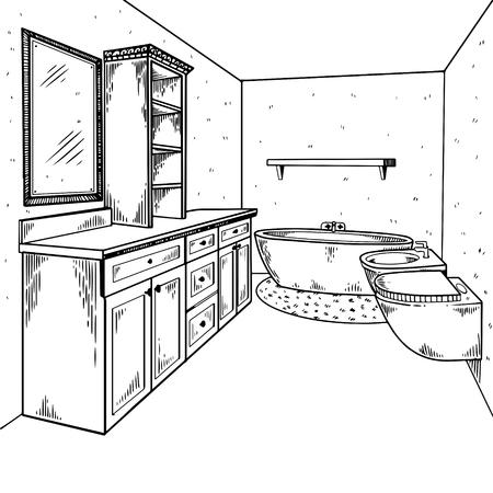 Bathroom interior engraving vector illustration. Scratch board style imitation. Hand drawn image. Illustration