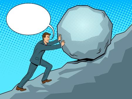 Uomo d'affari che spinge roccia in salita pop art vettoriale Archivio Fotografico - 93396616