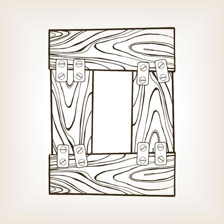 Wooden number 0 engraving illustration