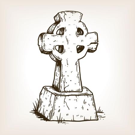 Oude kruis grafsteen gravure vector Stock Illustratie