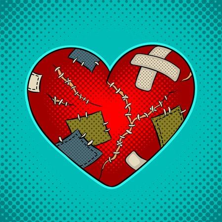 Broken heart metaphor pop art Stock Illustratie