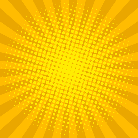 Yellow sun shine halftone design background retro vector illustration.