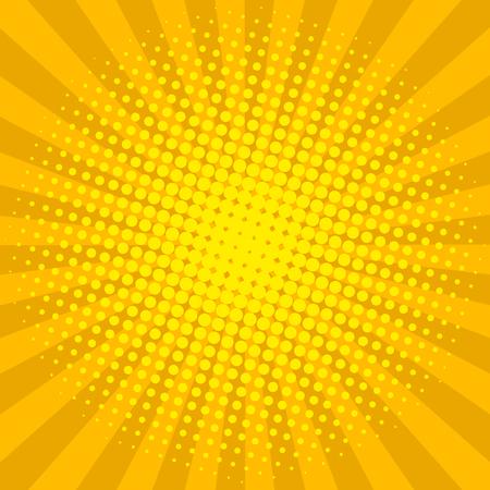 De gele zon glanst halftone ontwerp retro vectorillustratie als achtergrond.