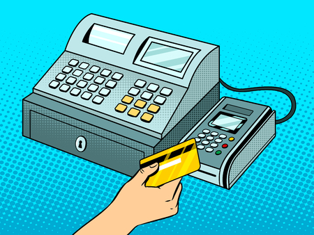 Cash register with point of sale terminal pop art retro vector illustration. Color background. Comic book style imitation.