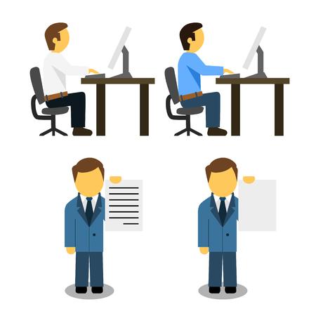 Men at work flat icon vector illustration. Ilustração
