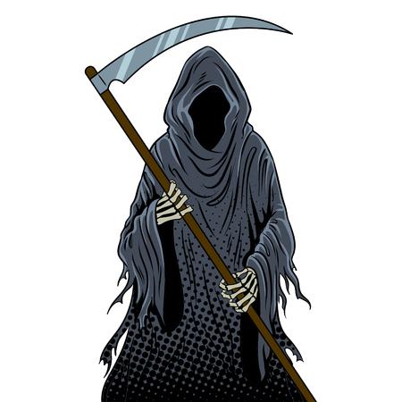Grim reaper pop art retro vector illustratie. Geïsoleerd beeld op witte achtergrond. Dood metafoor. Imitatie van een stripboek.