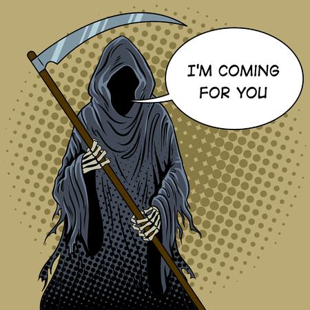Grim reaper pop art retro vector illustration. Text bubble. Death metaphor. Comic book style imitation. Vectores