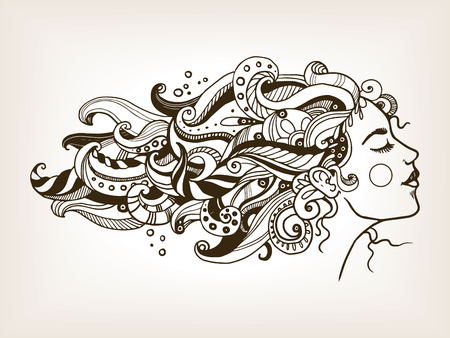 Woman with art hair engraving vector illustration Vectores