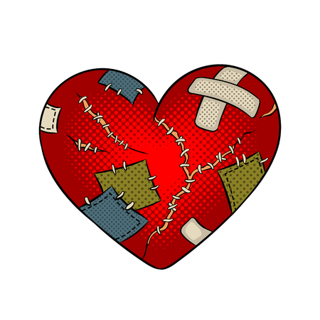 Broken heart metaphor pop art vector