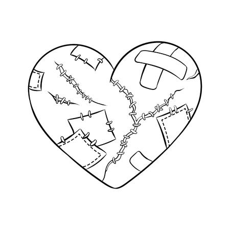 Broken heart metaphor coloring book vector