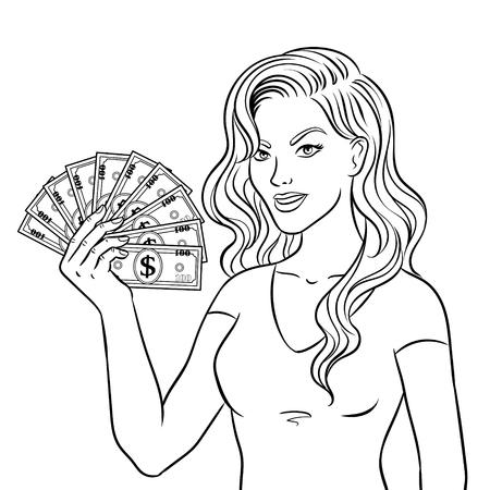 Mulher jovem, com, dinheiro, dólares, livro colorir Foto de archivo - 93489267