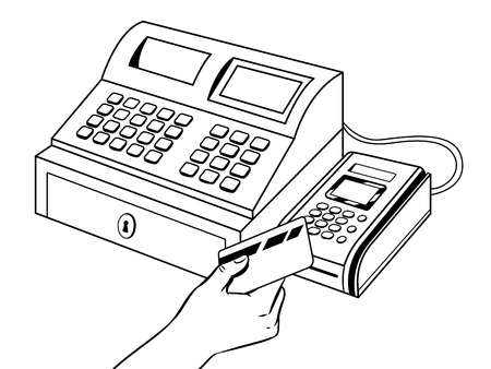 Cash register with pos terminal coloring book Vettoriali