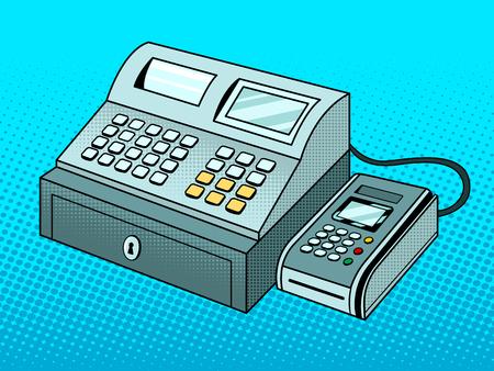 Cash register with pos terminal pop art vector
