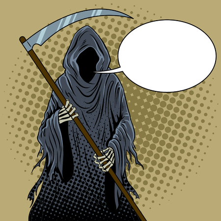 Grim reaper pop art vector illustration