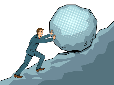 Businessman pushing rock uphill pop art vector