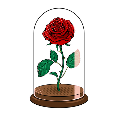 Rose under glass cap pop art vector illustration