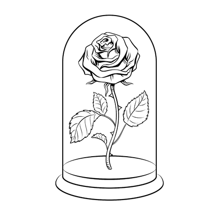 Rose flower under glass shell coloring vector illustration. Isolated image on white background. Comic book style imitation.