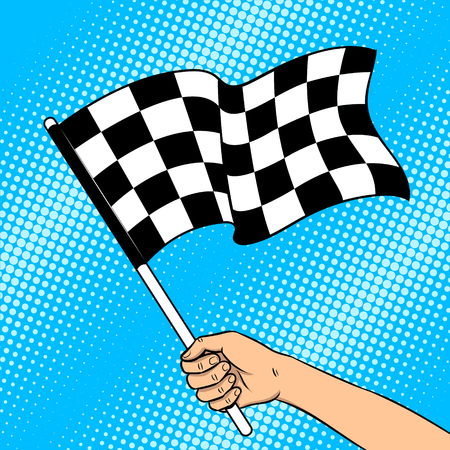 Racing checkered flag in hand pop art retro vector illustration. Auto sport symbol. Color background. Comic book style imitation.