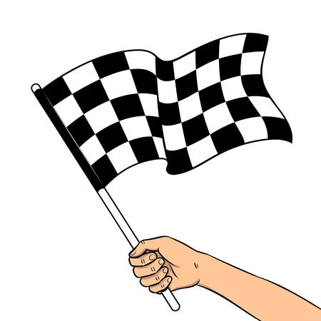 Racing checkered flag in hand pop art retro vector illustration. Auto sport symbol. Isolated image on white background. Comic book style imitation.