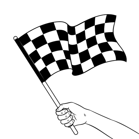 Racing checkered flag in hand coloring vector illustration. Isolated image on white background. Comic book style imitation. 版權商用圖片 - 93594347