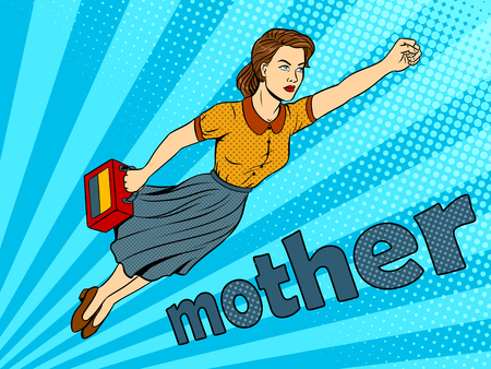 Mother flying super hero pop art retro vector illustration. Color background. Comic book style imitation.
