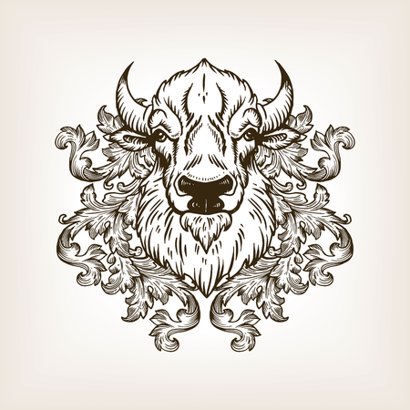 Bison head with floral ornament engraving vector Çizim
