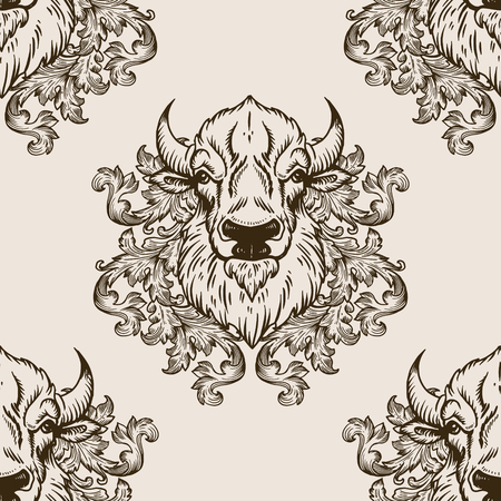 Bison head with floral ornament seamless pattern vector illustration. Brown aged background. Scratch board style imitation. Hand drawn image.