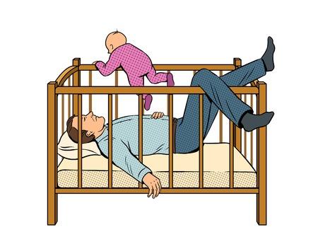 Padre dorme e fuga bambino pop art vettoriale Archivio Fotografico - 93965500