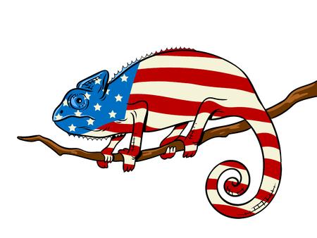 카멜레온은 미국 국기 팝 아트 벡터에 색깔 일러스트