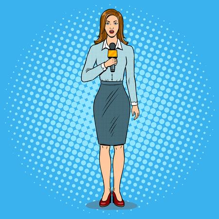 Journalist rapporteert met microfoon popart retro vectorillustratie. Kleur achtergrond stripboek imitatie. Stock Illustratie