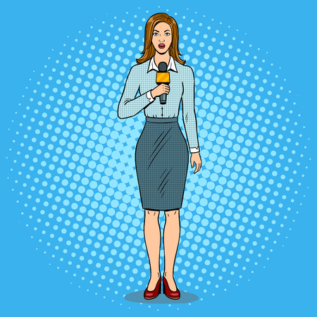 Journalist is reporting with microphone pop art retro vector illustration. Color background comic book style imitation. Illustration