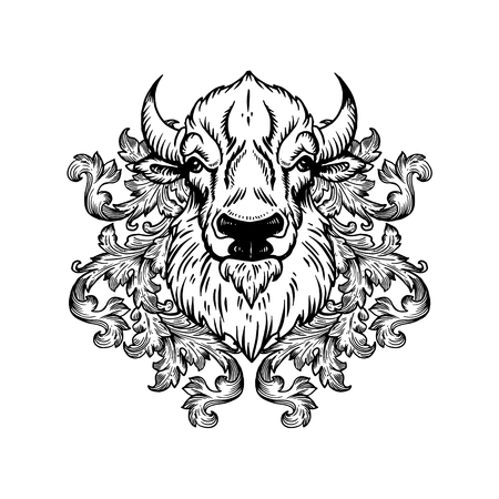 Bison head with floral ornament engraving vector Ilustracja