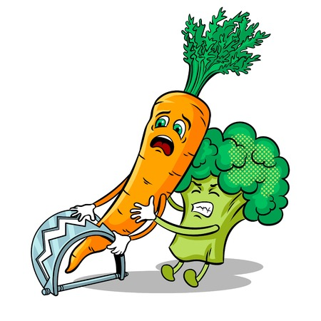Cartoon carrot fell into trap and broccoli tries to free it pop art retro vector illustration. Isolated image on white background. Comic book style imitation.