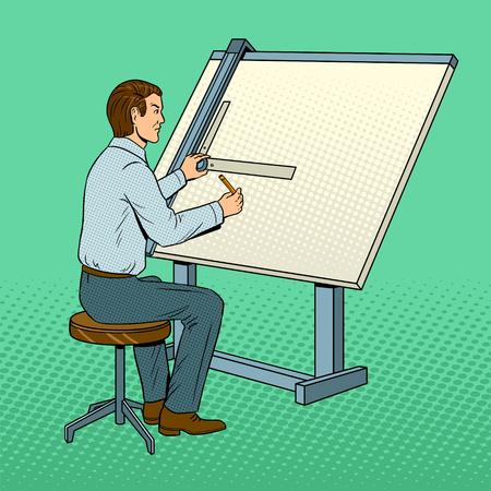 Old school engineer pop art vector illustration Illustration