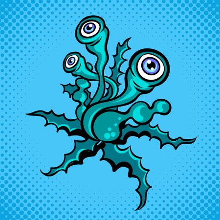 エイリアン植物の生き物ポップアートレトロなベクトルイラスト。色の背景。コミックブックスタイルの模倣。 写真素材 - 94005593