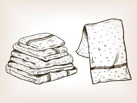 Towels engraving vector illustration Vectores