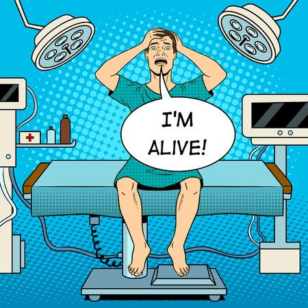 Doen schrikken gekke patiënt in operatiekamer pop-art retro vectorillustratie. Tekstballon. Kleur achtergrond. Imitatie van een stripboek.