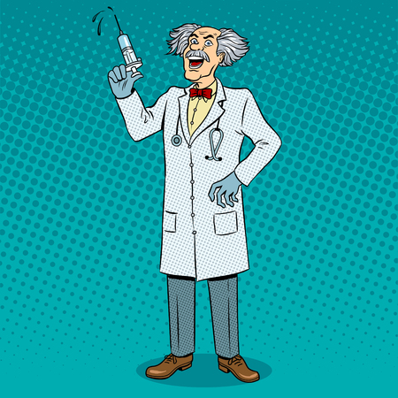 Mad crazy doctor with syringe in his hand pop art retro vector illustration. Color background. Comic book style imitation. Illustration