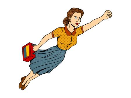 Mother flying super hero pop art retro vector illustration. Isolated image on white background. Comic book style imitation. Illustration