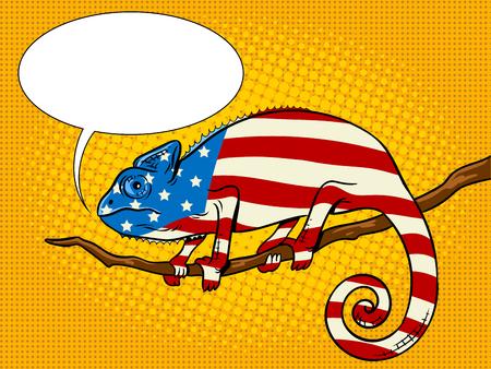 Kameleon gekleurd in Amerikaanse vlag pop art vector
