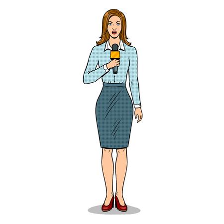 Journalist rapporteert met microfoon popart retro vectorillustratie. Geïsoleerd beeld op witte achtergrond. Imitatie van een stripboek.