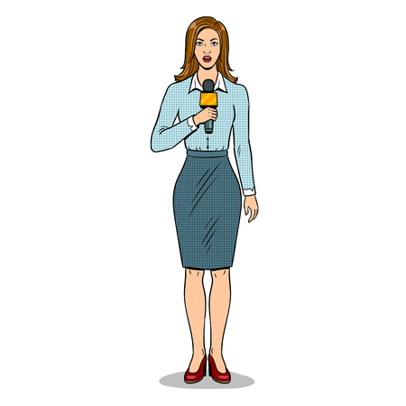 Journalist is reporting with microphone pop art retro vector illustration. Isolated image on white background. Comic book style imitation.